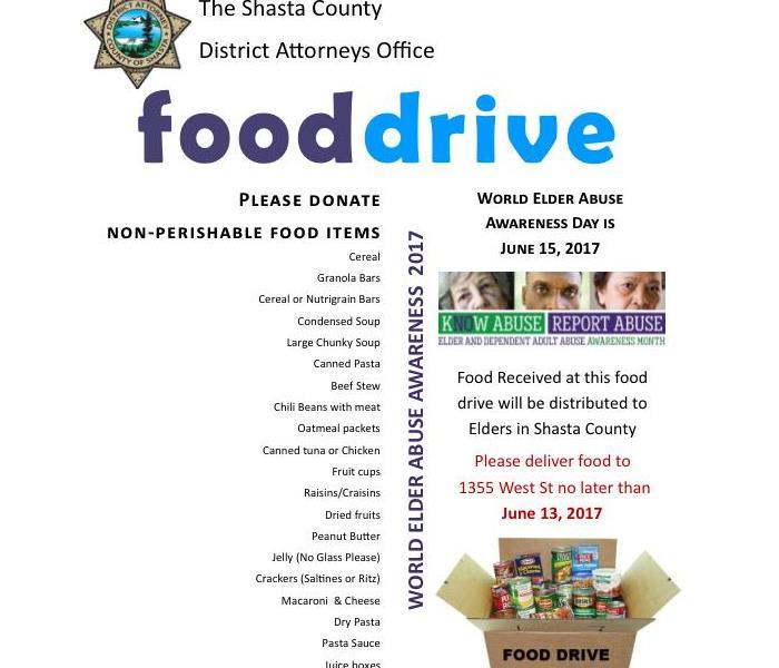 Shasta County Food Drive for World Elder Abuse Awareness Day